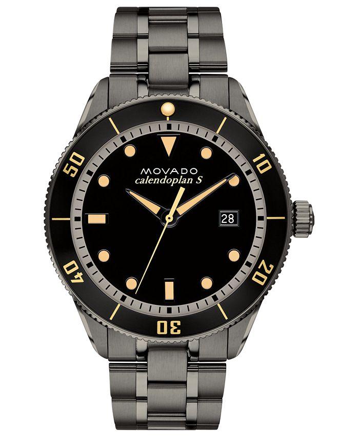 Movado - Men's Swiss Heritage Series Calendoplan Gunmetal Ion-Plated Stainless Steel Bracelet Watch 43mm