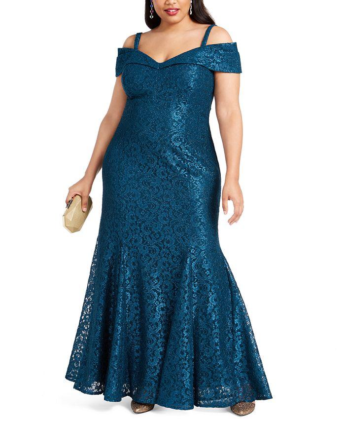 R & M Richards - Plus Size Off-The-Shoulder Lace Gown