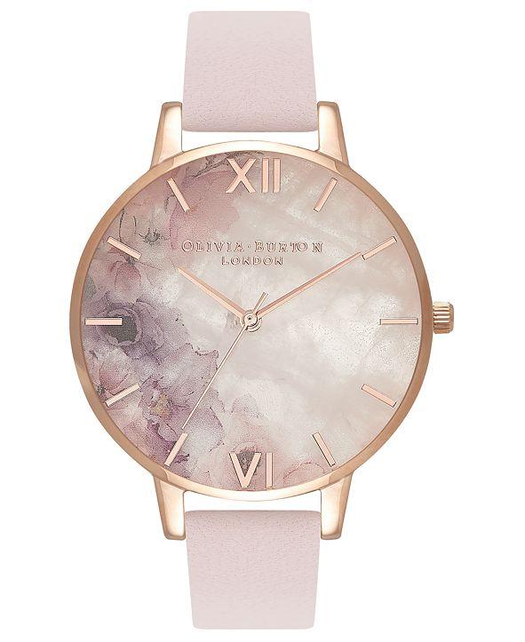 Olivia Burton Women's Blossom Leather Strap Watch 38mm