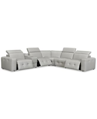 "Haigan 6-Pc. Leather ""L"" Shape Sectional Sofa with 3 Power Recliners, Created for Macy's"