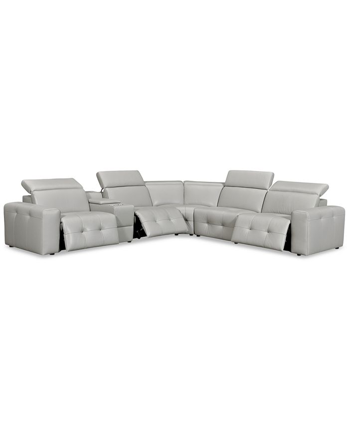 """Furniture - Haigan 6-Pc. Leather """"L"""" Shape Sectional Sofa with 3 Power Recliners"""