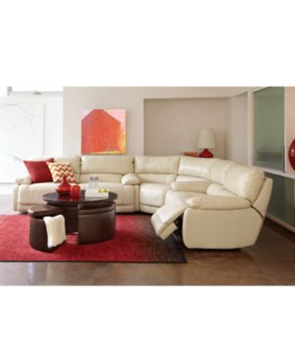 Nina Leather Reclining Sectional Sofa, 3 Piece Power Recliner (Sofa, Wedge  And Sofa