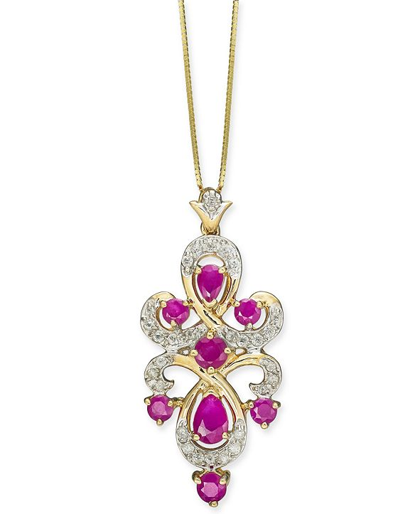 "Macy's Certified Ruby (1-3/8 ct. t.w.) & Diamond (1/4 ct. t.w.) 18"" Pendant Necklace in 10k Gold"