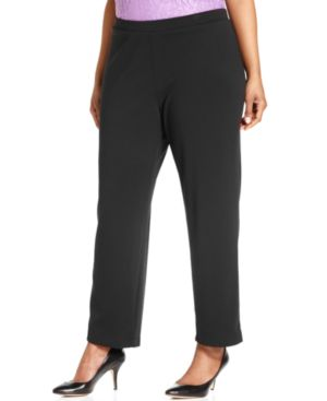 Ny Collection Plus Size Pull-On Straight-Leg Pants
