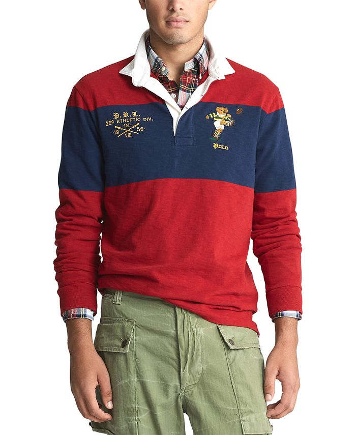 Polo Ralph Lauren Men's Long Sleeve Rugby Bear Classic Fit Polo ...