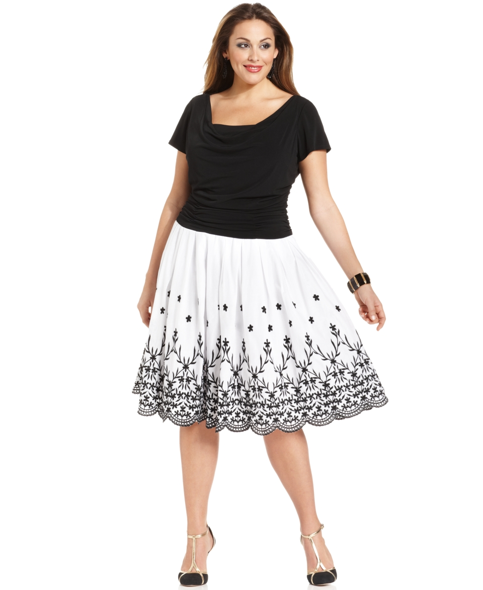 SL Fashions Plus Size Dress, Short Sleeve Ruched Scalloped A Line