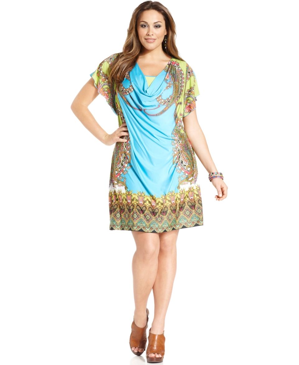 One World Plus Size Dress, Short Sleeve Printed Cowl Neck
