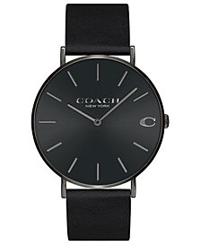 COACH Men's Charles Black Leather Strap Watch 41mm