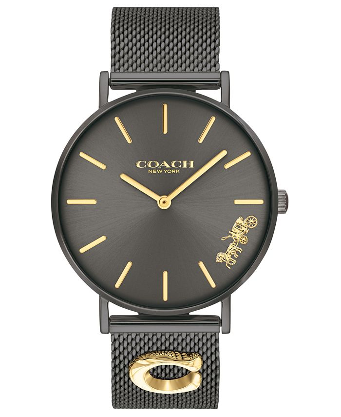 COACH - Women's Perry Black Stainless Steel Mesh Bracelet Watch 36mm