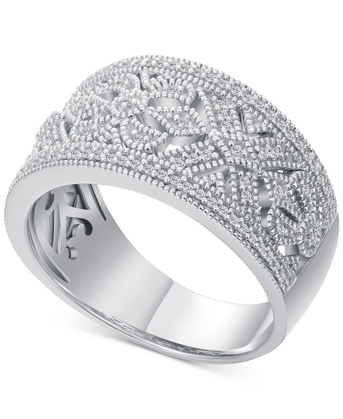 Macy's - Diamond Scroll-Pattern Statement Ring (1/5 ct. t.w.) in Sterling Silver