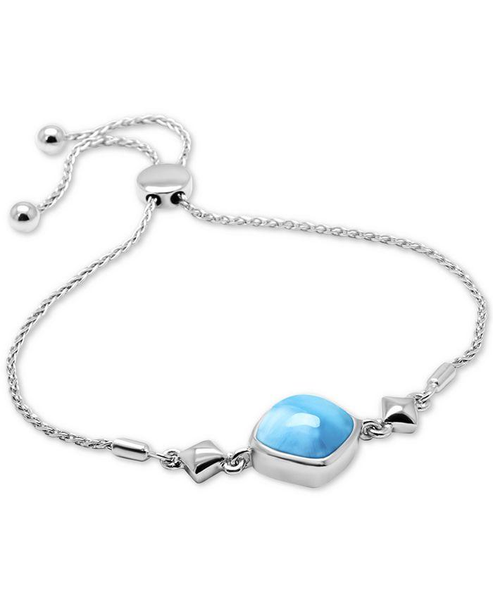 Marahlago - Larimar (12mm) Bolo Bracelet in Sterling Silver