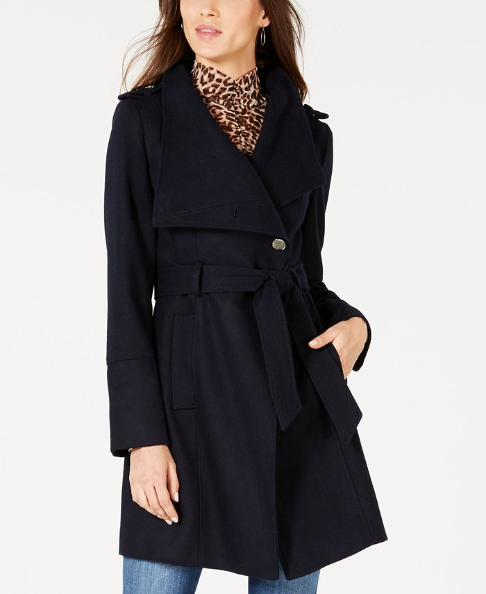 GUESS - Asymmetrical Belted Wrap Coat