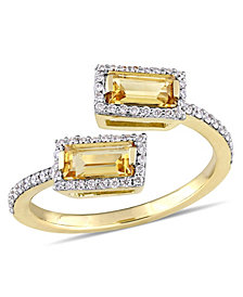 Baguette Cut Citrine (3/4 ct. t.w.) and Diamond (1/4 ct. t.w.) Open Ring in 14k Yellow Gold
