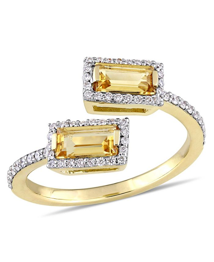 Macy's - Baguette Cut Citrine (3/4 ct. t.w.) and Diamond (1/4 ct. t.w.) Open Ring in 14k Yellow Gold