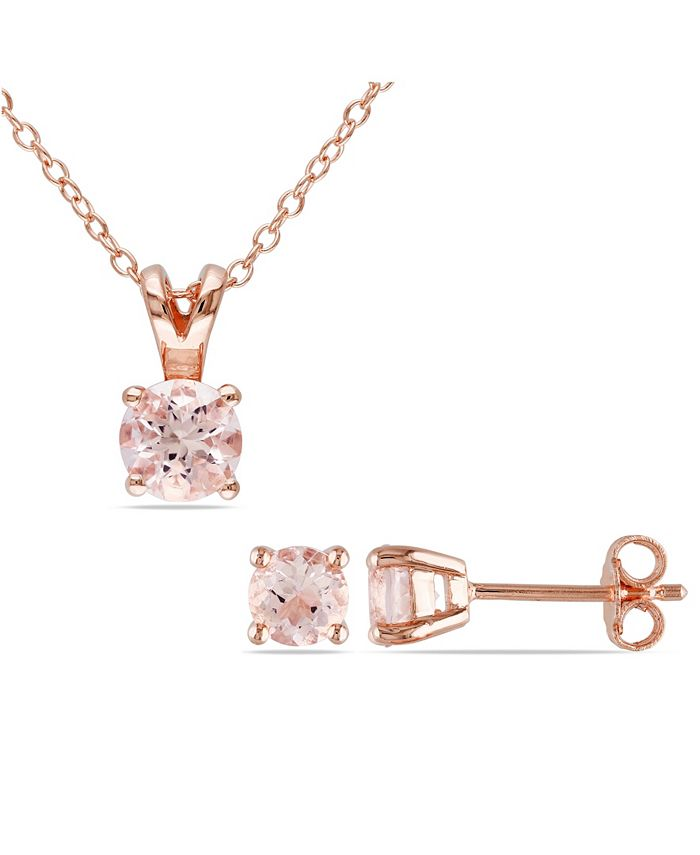 Macy's - Morganite (1-4/5 ct. t.w.) Solitaire 2-Piece Necklace and Stud Earrings Set in Rose Gold Over Silver