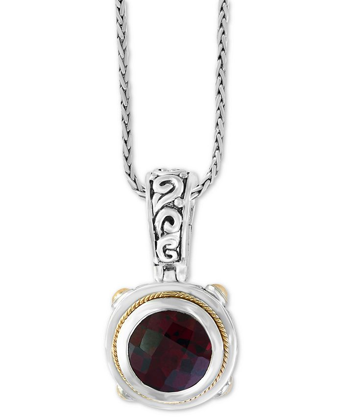 "EFFY Collection - Garnet (3-5/8) 18"" Pendant Necklace in Sterling Silver and 18k Gold Over Sterling Silver"