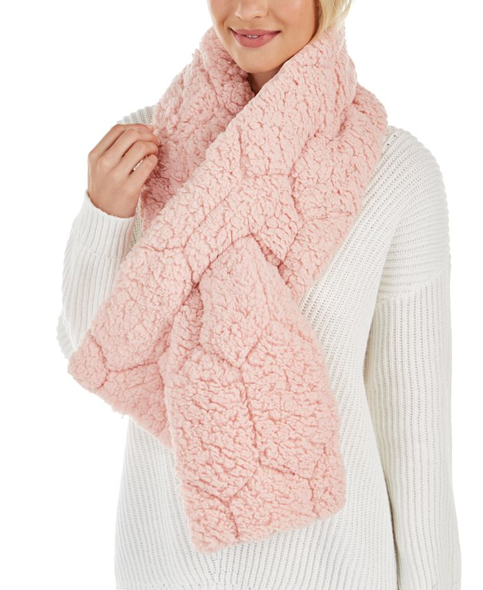 INC International Concepts - Quilted Teddy Faux-Fur Puffer Muffler Scarf
