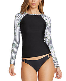 Volcom Juniors' So Tropical Printed Long-Sleeve Rash Guard & Simply Solid Strappy-Side Bikini Bottoms