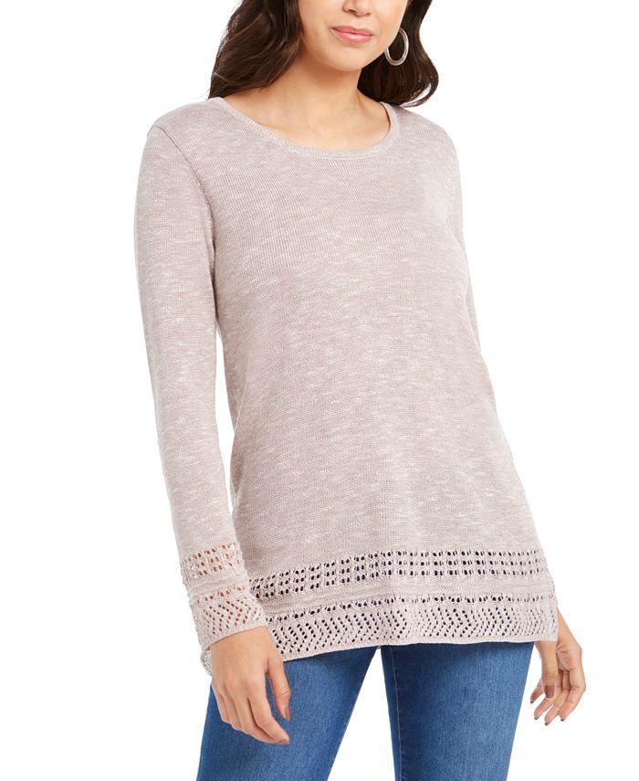 Style & Co - Petite Pointelle-Trim Sweater