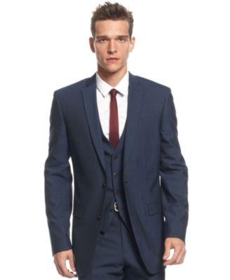 Bar Iii Slim Fit Navy Herringbone Jacket Suits Suit Separates