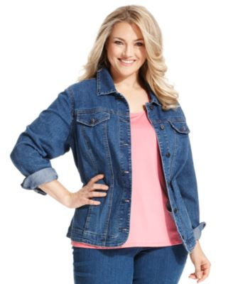 American Rag Plus Size Cropped Denim Jacket, Bethany Wash ...