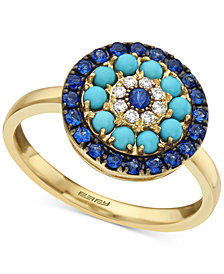 EFFY® Sapphire (1/2 ct. t.w.), Turqouise & Diamond (1/20 ct. t.w.) Statement Ring in 14k Gold