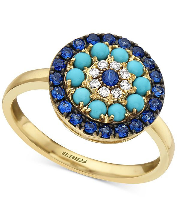 EFFY Collection EFFY® Sapphire (1/2 ct. t.w.), Turqouise & Diamond (1/20 ct. t.w.) Statement Ring in 14k Gold