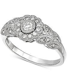 Diamond Filigree Ring (1/3 ct. t.w.) in 10k White Gold