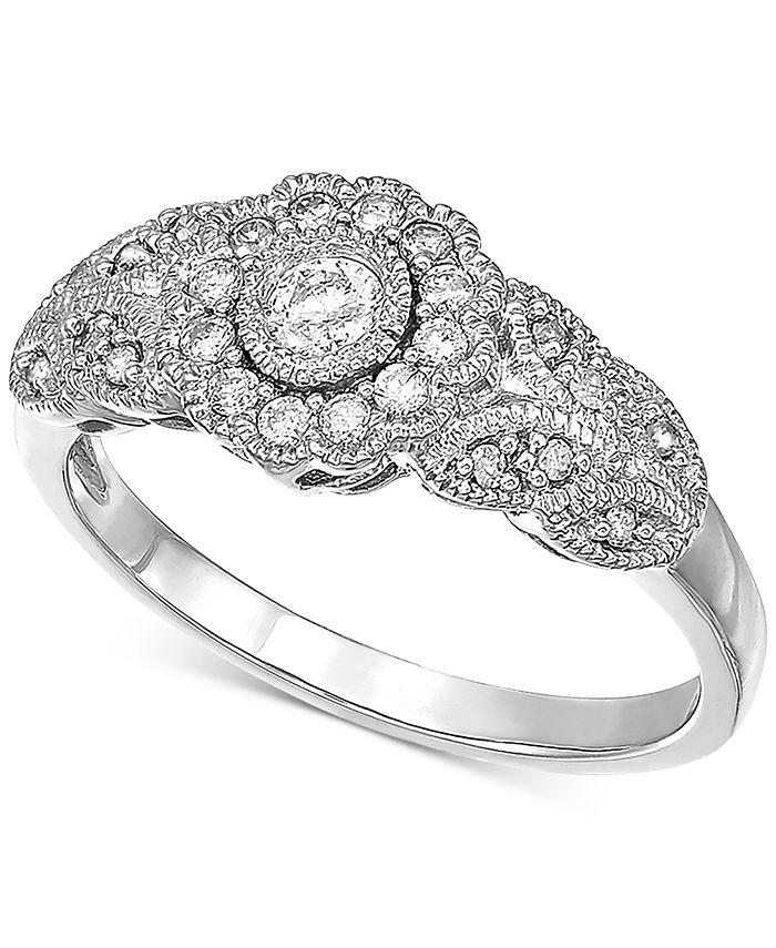 Macy's - Diamond Filigree Ring (1/3 ct. t.w.) in 10k White Gold