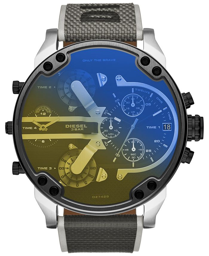 Diesel - Men's Chronograph Mr. Daddy 2.0 Gray Nylon Strap Watch 57mm