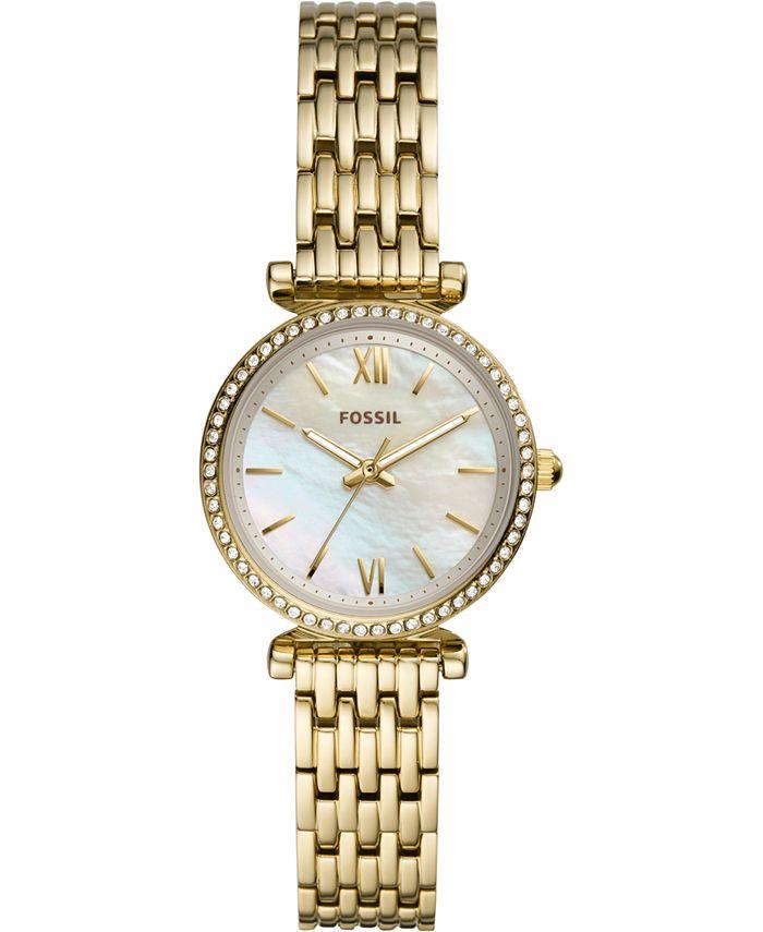 Fossil - Women's Carlie Mini Gold-Tone Stainless Steel Bracelet Watch 28mm
