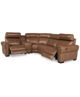 Josephia 5-Pc. Leather Sectional with 2 Power Recliners and Console, Created for Macy's