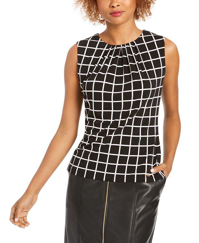 Calvin Klein - Printed Pleat-Neck Top