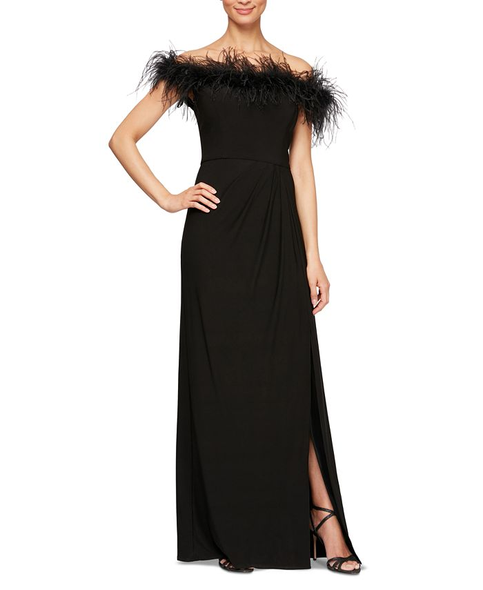 Alex Evenings - Faux-Feather Off-The-Shoulder Gown