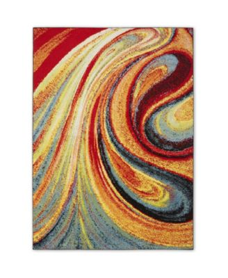 "Burst BUR01 Red 6'6"" x 9'2"" Area Rug"