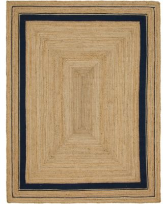 Braided Border Brb1 Natural/Navy 2' x 3' Area Rug