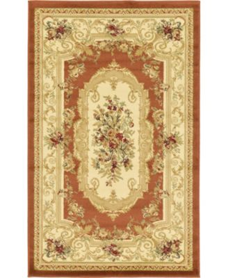 Belvoir Blv3 Brick Red 6' x 6' Square Area Rug
