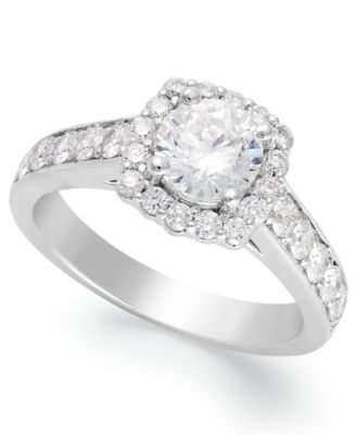 diamond halo ring in 14k white gold 1 12 ct tw - Macy Wedding Rings