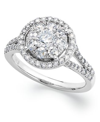 circular diamond engagement ring in 14k white gold 1 14 ct tw - Macy Wedding Rings