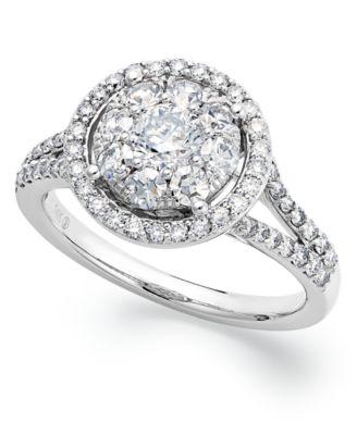 Circular Diamond Engagement Ring in 14k White Gold 1 14 ct tw
