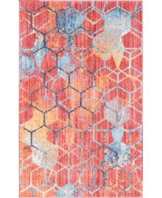 Prizem Shag Prz1 Red 2' x 6' Runner Area Rug