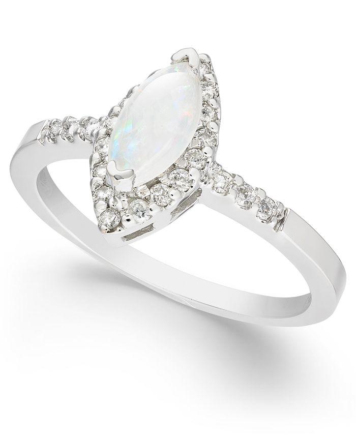 Macy's - Opal (1/3 ct. t.w.) & Diamond (1/5 ct. t.w.) Ring in 14k White Gold