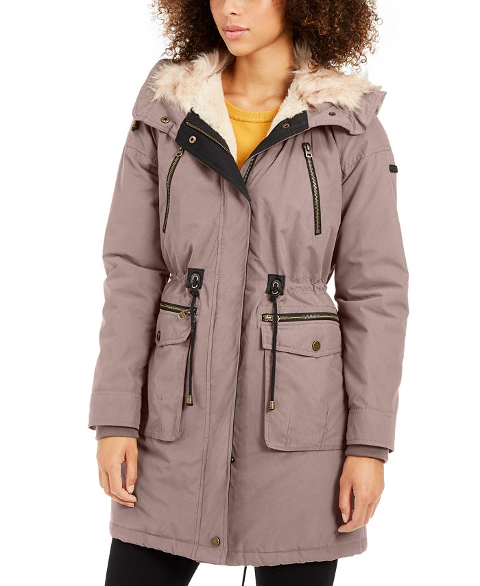 Lucky Brand - Hooded Faux-Fur-Trim Anorak Coat