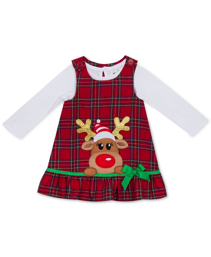 Rare Editions - Baby Girls 2-Pc. Bodysuit & Plaid Reindeer Jumper Set