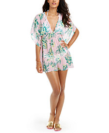 Miken Juniors' Sammy Hibiscus Printed Caftan Cover-Up, Created for Macy's