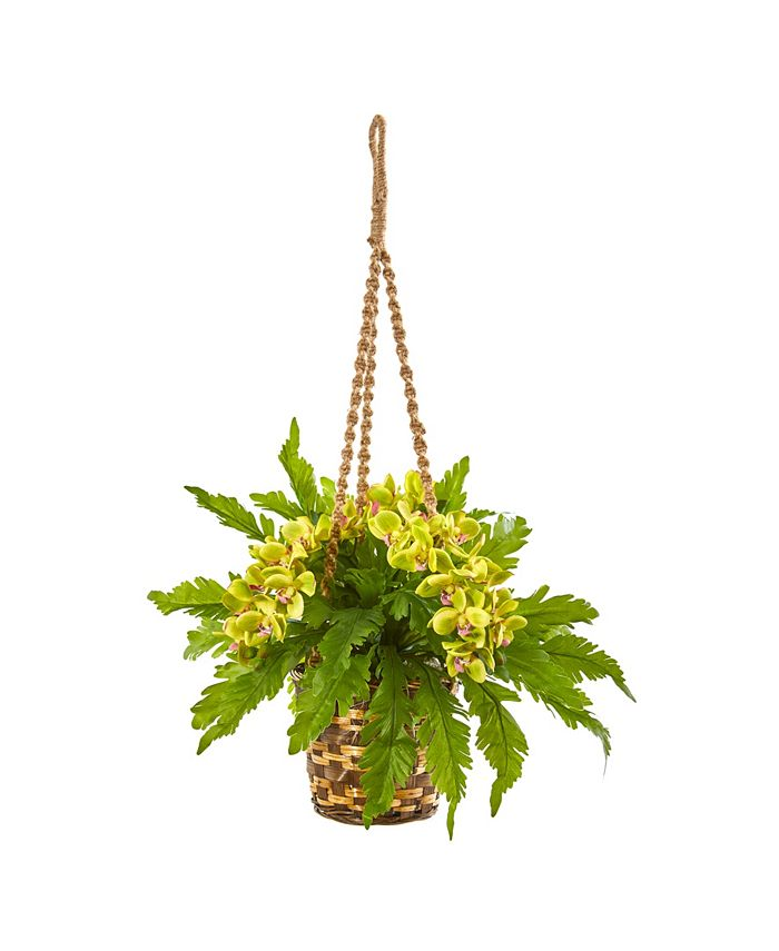 """Nearly Natural - 29"""" Phalaenopsis Orchid and Fern Artificial Plant in Hanging Basket"""