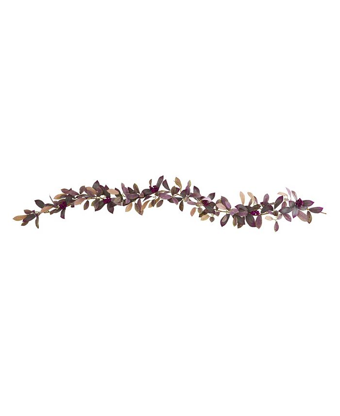 Nearly Natural - 6' Fall Laurel Leaf with Berries Artificial Garland, Set of 2