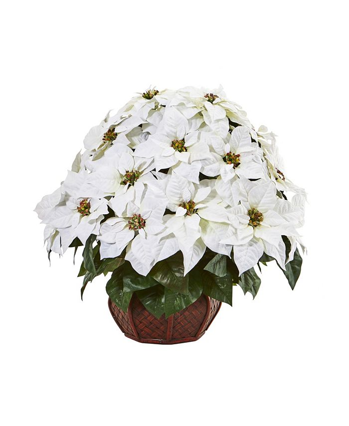 Nearly Natural - Poinsettia Artificial Arrangement in Decorative Planter