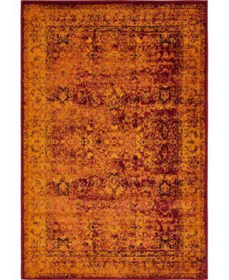 Linport Lin1 Burgundy 4' x 6' Area Rug