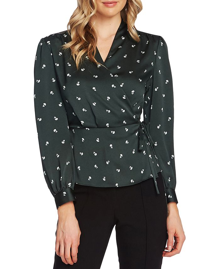 Vince Camuto - Ditsy-Floral Peplum Wrap Top